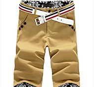 Men's Mid Length Korean Style Shorts Pants(Belt Not Included,Waist Part Label Random)