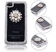 3D-Perlen-Blumen-Design-Tasche für iPhone 4/4S