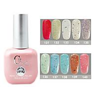 1PCS CH Soak-off Pink Bottle Astral Glitter UV Color Gel Polish NO.131-140(15ml,Assorted Color)