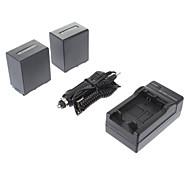 ismartdigi-Sony NP-FV100 (2pcs) 3900mAh, 7.2V batería de la cámara + cargador de coche para SONY CX700E/PJ50E/30E/10E