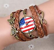 lureme®usa Nationalflagge Uhr Leder geflochten Armband