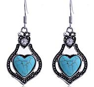 Lureme®Vintage Turqosie Heart Shape Dangle Earring