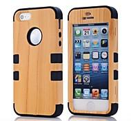 2 in 1 PC Grana del legno di stile e Sillcone cassa in composito per iPhone 5/5S (colori assortiti)