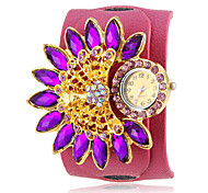 Women's Crystal Peacock Decor Rose PU Band Bohemia Style Wrist Watch