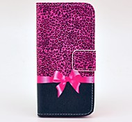 Rose Leopard Print And Butterfly Knot Pattern PU Leather Full Body Case for iPhone 5/5S