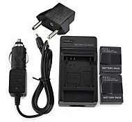 2 x AHDBT-301 Battery 1600mAh Batteries Pack+Wall Charger+Car Charger+EU Adapter Plug for GoPro 3 & 3+