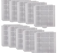 Professional High Quality Protective PVC Storage Case for 4 x AA/AAA Batteries-White (10PCS)