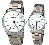Diamante Patrón Luz del sol Pareja dial redondo venda de la aleación del cuarzo del reloj de manera analógica (color surtidos)