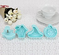 High Quality Plastic Material 4PCS/Set Hallowmas Bakeware Cookie Cutter Mold (Random Color)