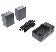 ismartdigi-Sony NP-FH100 (2pcs) 3900mAh, 7.2V batería de la cámara + cargador de coche para SONY HDR-SR11E SR12E XR100E XR5