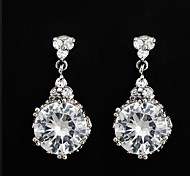 Miss ROSE®White Gold Plated Big Glittering Round Cubic Zircon Earrings