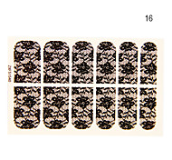 Water Lily 12PCS Forme Black Lace Nail Art Stickers N ° 16