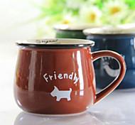 Solid Color Cartoon Animal Pattern Coffee Cup(Random Color,1pcs)