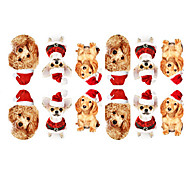 12PCS Mini Pet Dogs with Christmas Hat Pattern Luminous Nail Art Stickers
