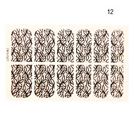 12PCS Abstract Branch Shape Black Lace Nail Art Stickers NO.12