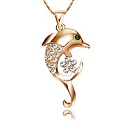 18K White/Rose Gold Plated Shining Austria Crystal Dolphin Pendant Necklace