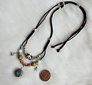 Ethnic Multicolor (Silver With Stone Round Pendant) Black Fabric Statement Necklace (1 Pc)