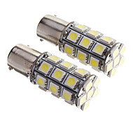2PCS BAY15D 1156 27 SMD 5050 LED Car Tail Stop Brake Turn Signal Light White 12V