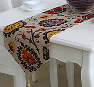 Floral Pattern Linen Table Runner