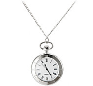 Men's Vintage Roman Number Round Dial Alloy Band Quartz Analog Pocket Watch