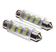 Festoon 0.5W 30-40lm 6-LED Coche Bombillas-Blanco (12V)