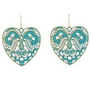 Flower Pattern Heart Drop Earrings