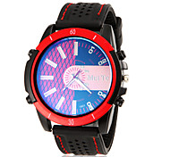 Men's Reticular Pattern Round Dial Silicone Band Quartz Analog Wrist Watch (Assorted Color)