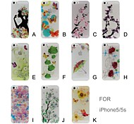 Luminous Effect Flowers and Butterfly Pattern Plastic Hard Case for iPhone 5/5S