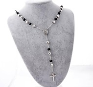 Fashion The Cross of Jesus Pendant Stainless Steel Beads Necklace