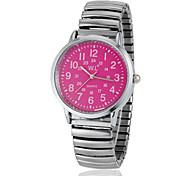 Women's Pink Dial Bottom Round Dial Alloy Band Quartz Analog Fashion Watch