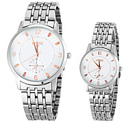 Couple's Simple All Matched Round Dial Steel Band Quartz Analog Fashion Watch (Assorted Color)