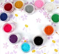 12PCS Multi-color Velvet Decorative Powder Set Nail Art Decoration