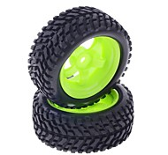73mm Rubber Tyre Set for 1:10 RC On-Road Car in Green (2 pcs)