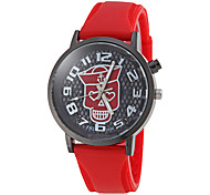 Men's Skull Pirate Pattern Flashing Light Silicone Band Quartz Wrist Watch (Assorted Colors)
