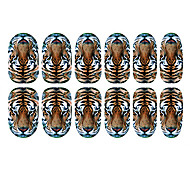 12PCS Tiger Pattern Luminous Nail Art Stickers