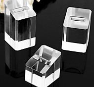 Fashion Rectangle Plastic Jewelry Display Stand for Rings (Clear) (3pcs)