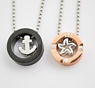 Fashion Anchor and Starfish Couple Titanium Steel Pendant Necklace(1 pc)