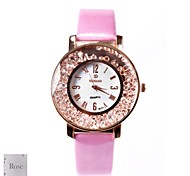 Personalized Gift Women's White Dial Pink PU Band Analog Engraved Watch with Rhinestone