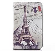 Torre Eiffel PU Couro e rígido Capa Bolsa para Samsung Tab 3 Lite T110