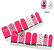 4x7PCS rose de bande dessinée d'ancre de bateau Motif Nail Art Stickers