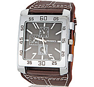 Men's Watch Flat and Wide Shape Square Dial