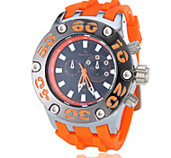 Men's Military Style Hard Case Silicone Band Quartz Wrist Watch (Assorted Colors)