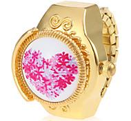 Women's Casual Watch Quartz Band Heart shape Flower Gold
