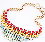 Lureme®Colorful Ribbon Statement Necklace