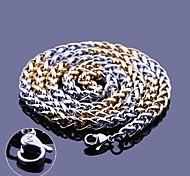 Catena della collana regalo personalizzato oro e argento gioielli in acciaio inossidabile Incisione 0,5 centimetri Larghezza