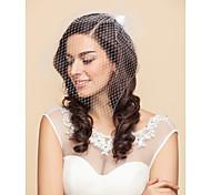 Véus de Noiva Uma Camada Véu Ruge Véus de Rede 15,75 cm (40cm) Tule Cetim Branco PretoLinha-A, Vestido de Baile, Princesa, Bainha/Coluna,