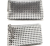 Portable Quadrate Silver Dazzling Shining Hollow Clutch Cosmetic Bag Makeup Storage Bag
