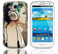 Girl with Earphone Pattern Hard Case with 3-Pack Screen Protectors for Samsung Galaxy S3 I9300