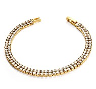 Roman Verve Shinning Crystal Dul-Chain Bracelet 18K Yellow Gold Plated Bracelet