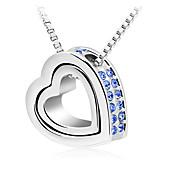 Z&X®  Sweet Double (Heart) Multicolor Alloy Pendant Necklace(White,Blue,Rose,Purple) (2 Pc)